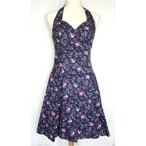 Roberta Country Floral Sundress Halter Dress